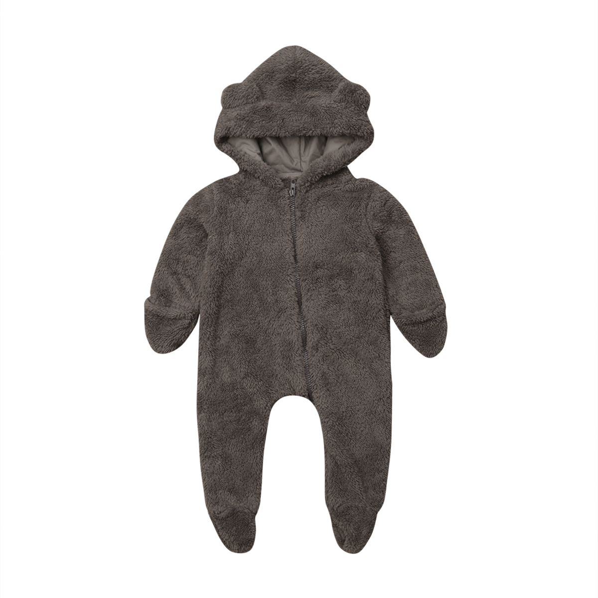 Newborn Baby Girl Boy Fuzzy Clothes Hooded Romper Bodysuit Jumpsuit Outfit 0-24M