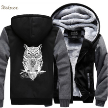 Animal Owl Print Funny Hoodies Clothing 2018 Fleece Sweatshirts Men Thick Coat Winter Warm Zipper Hooded Hoodie Tracksuit