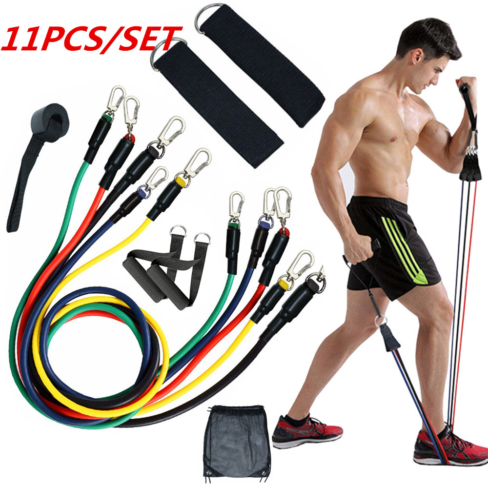 11Pcs Fitness Resistance Bands Set Expander Yoga Exercise Rubber Tubes Band Stretch Training Home Gyms Workout Elastic Pull Rope(China)