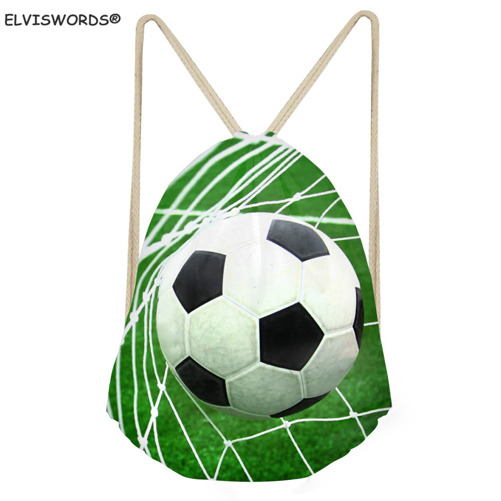 ELVISWORDS Soccer Design School Drawstring Book Bag Football Printed Gym Bags Ball Storage Sack Customize Your Logo Gift For Boy