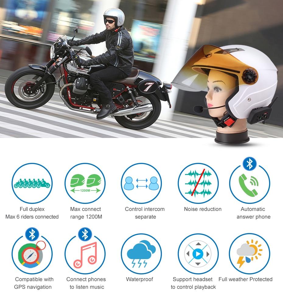 Fodsports 2pc V6 Pro Intercom Motorrad Bluetooth Helm Intercom-Headset 6 Reiter 1200M Wasserdichte BT Sprech