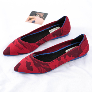 Image 4 - Roman Hot Design Mixed Colors Pointed Toe Slip on Mules Women Single Shoes Microfiber Knitted Flats Femme 34 44 Ballet  Lady