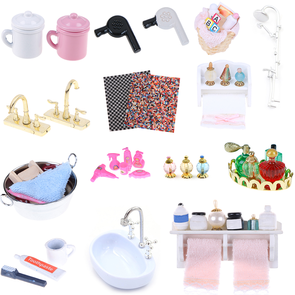 Tissue Toothbrush Toothpaste Cup Towel Rack Shower Faucet Baskets Hair Dryer 1/12 Dollhouse Bathroom DIY Furniture Accessories