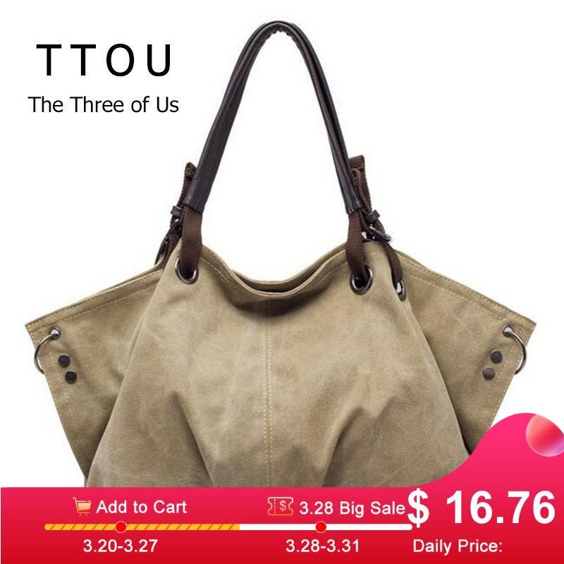 Women Fashion Canvas Handbags Retro Large Capacity Female Shoulder Bags Stylish Casual Crossbody Bags Classic Solid Totes TTOU