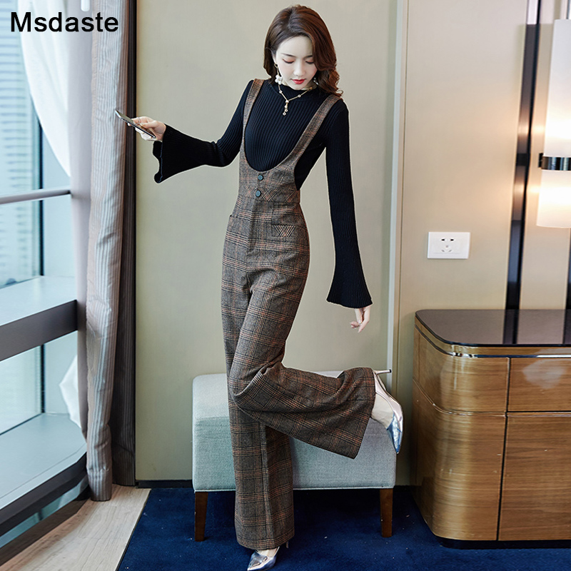 Woolen Wide Leg Pants Women 2019 Winter Vintage Plaid Office Lady Wear Female Trousers Overalls High Waist Bodysuit Flare Pants