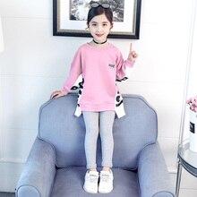 Çocuk Giyim 2019 Sonbahar Bahar Kızlar Karikatür Set Uzun kollu Üstleri + Pantolon 2 adet Eşofman Çocuk Giysileri Kıyafet Eşofman
