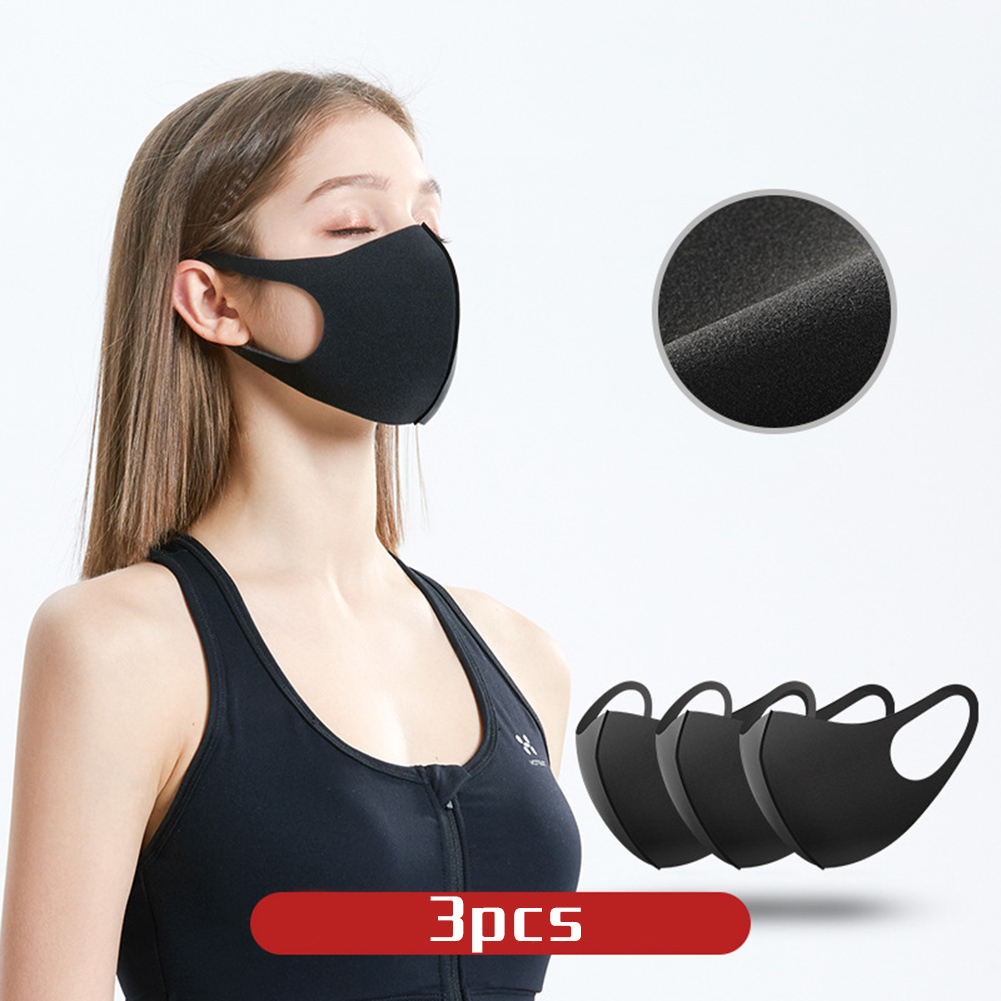 3PCS Washable Reusable Anti Air Pollution Face Cover Mouth Muffle Breathable Anti-droplets Splash-proof Filter Windproof