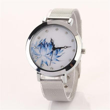 Women's Watch Fashion Lotus Bracelet Watch Women's Alloy Net Belt Women's Watch Trend Casual Birthday Gift Hot Sale reloj mujer(China)