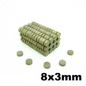 SmCo Magnet Thin Cylinder Diameter Dia. 8x3 mm Grade YXG28H 350 Degree C High Temperature Permanent Rare Earth Magnets 50pcs