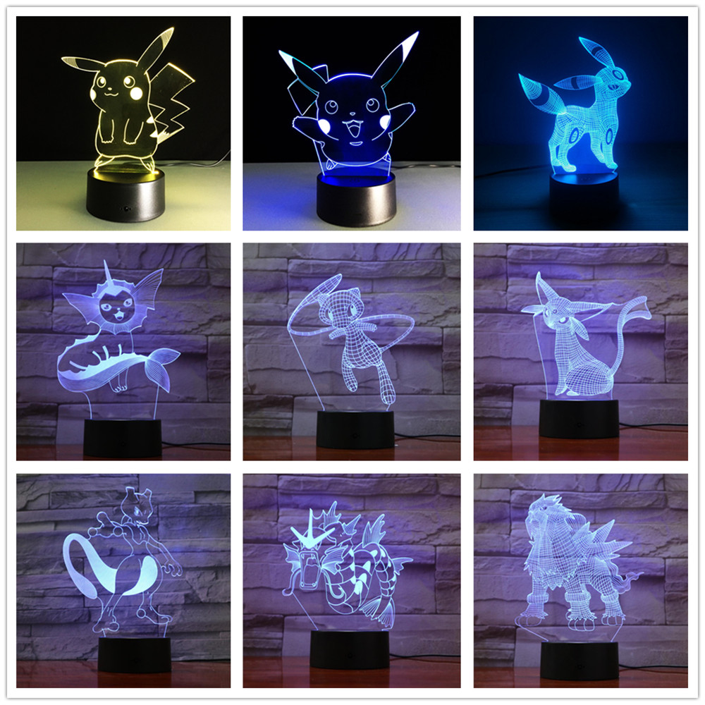 Pokemon Pikachu 3d Illusion Night Light Color Changing Lamp Pokemon Go Action Figure Visual Illusion Led Holiday Gifts