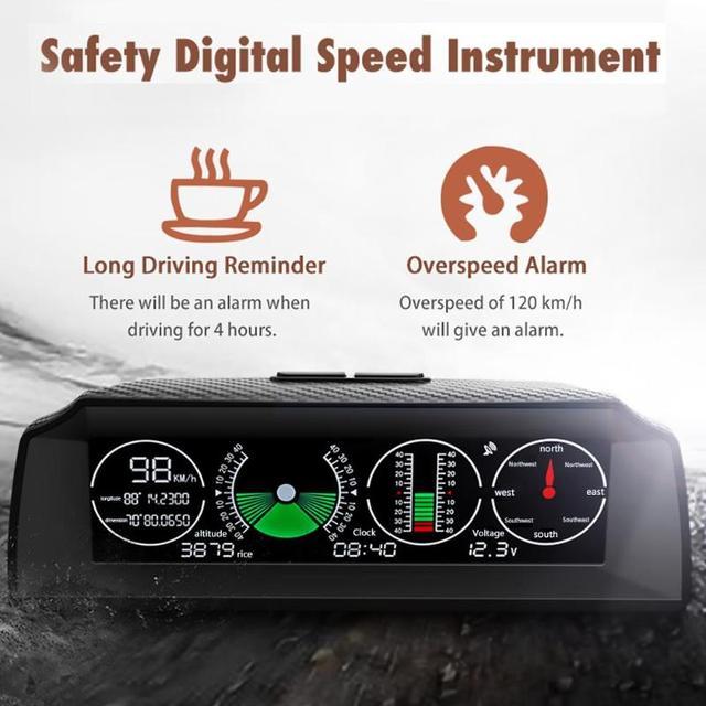 GPS GO-2 voiture intelligente inclinomètre boussole horizontale compteur de vitesse horloge Satellite affichage de lheure Satellite véhicule rouleau Angle Test