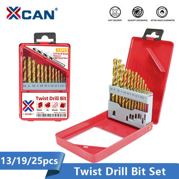 цена на XCAN Twist Drill Bit Set 1.0-13mm Titanium Coated Metal Gun Drill Hole Cutter Power Tools Accessories HSS Wood Metal Drill Bit