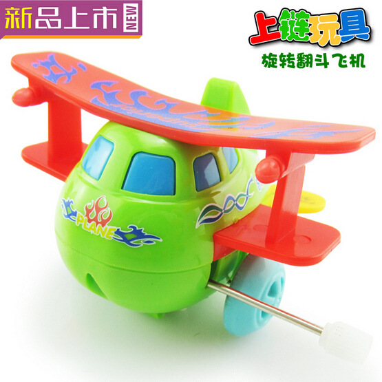 Children'S Educational Toy Novelty Wind-up Toy Winding Rotating Somersault Airplane Cartoon Toys Stall Hot Selling