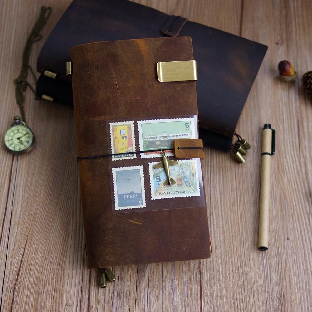 100% Genuine Leather Traveler's Notebook Travel Diary Journal Vintage Handmade Cowhide Gift Planner Free Lettering Embosse