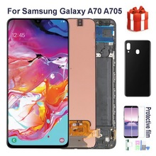 100% Original AMOLED LCD For Samsung Galaxy A70 A705 A705F SM-A705MN Lcd Display Touch Screen Digitizer Assembly With back cover