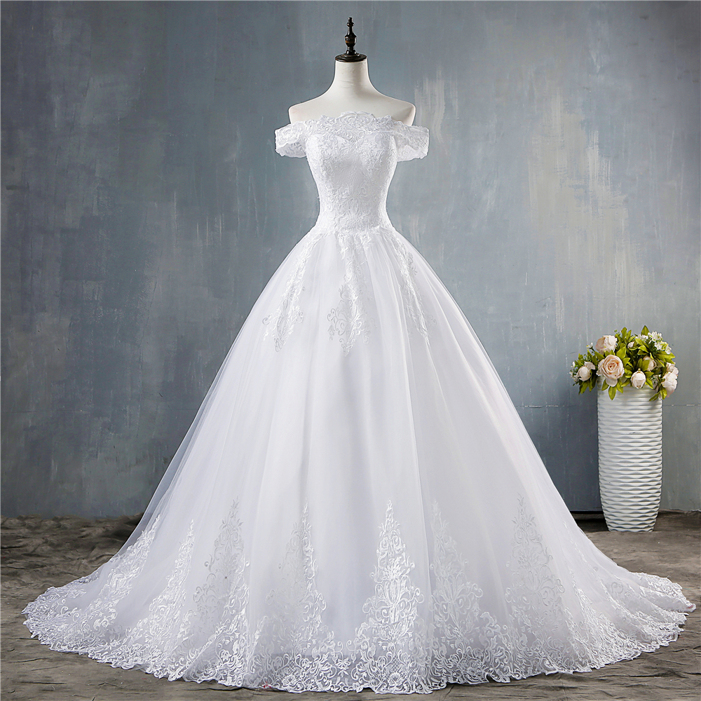 ZJ9150 2019 New White Ivory Off The Shoulder Wedding Dresses For Brides Bottom Lace Big Train With Lace Edge