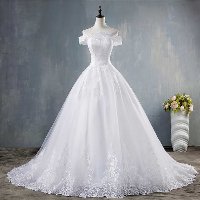 ZJ8150 ZJ9150 2019 2020 new White Ivory Off the Shoulder Wedding Dresses for brides Bottom Lace Big Train with lace edge 1