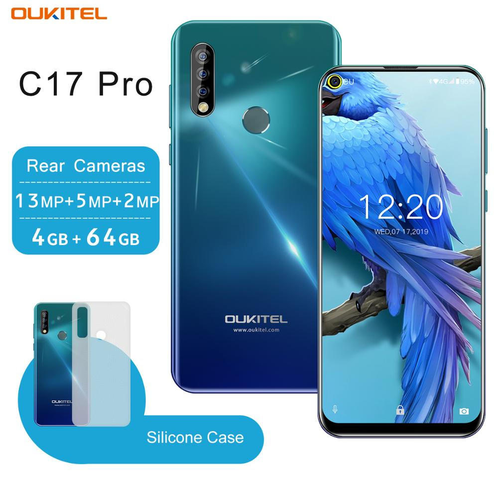 OUKITEL C17 Pro 4G RAM 64G ROM Smartphone 6.35'' Cellphone Octa Core Triple Camera Face ID Fingerprint Android 9.0 Mobile Phone