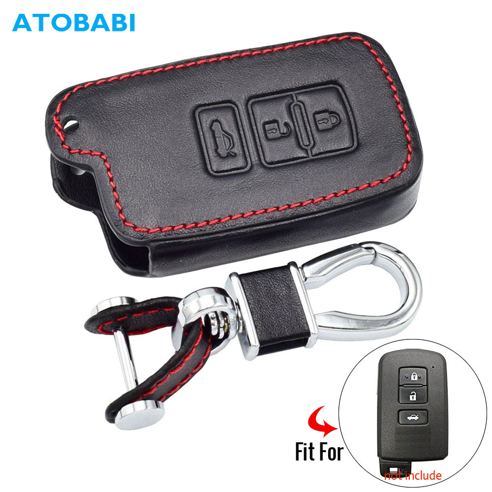 Leather Car Key Case For Toyota Camry 2012 2.5v 2.5g 2.5s 3 Buttons Smart Remote Fob Cover Keychain Protector Bag Auto Accessory