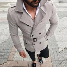 Men's Jackets Slim Fit Social Suit Top Windbreaker Trench Coat Streetwear Long S