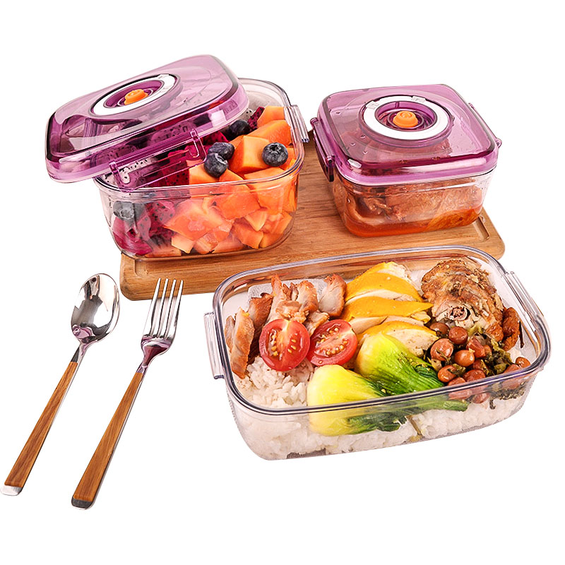 Vacuum Container Large Capacity Food Saver Storage Square Plastic Containers Vacuum Sealer Pots For Seal Foods