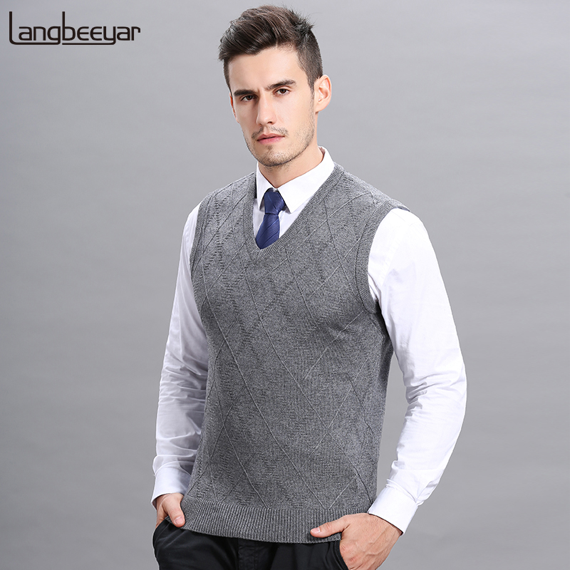 Fashion Brand Sweaters Mens Pullover Slim Fit Jumpers Knitred Vest Sleeveless Autumn V Neck Korean Style Casual Men Clothes