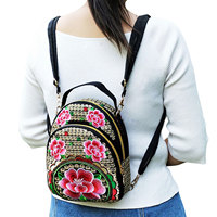 Mochilas multifuncionales bordadas para mujer, Mini mochila Vintage de viaje con flores y cremallera, bolso de hombro para chica, mochila de día