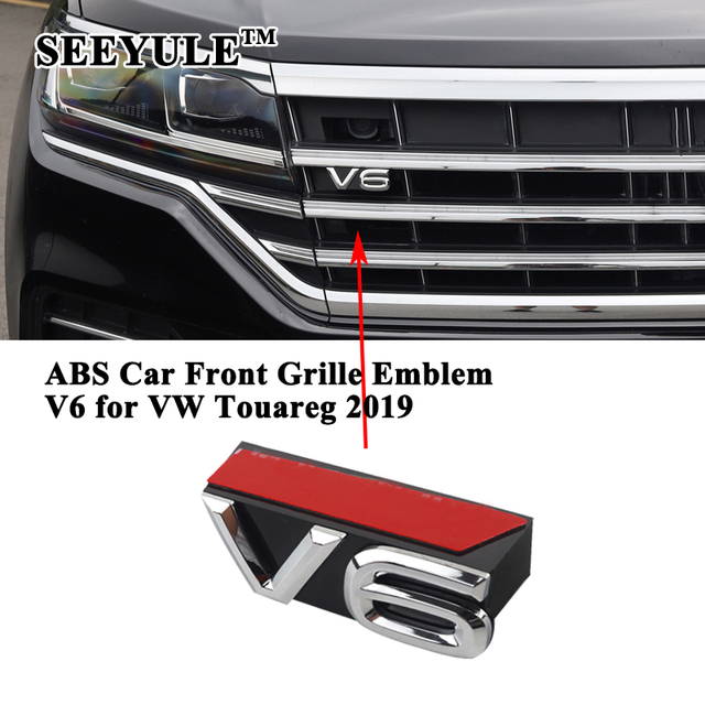 1pc SEEYULE Customized Car Front Grille V6 Emblem Grill decoration ABS Silver Sticker accessories for VW Volkswagen Touareg 2019