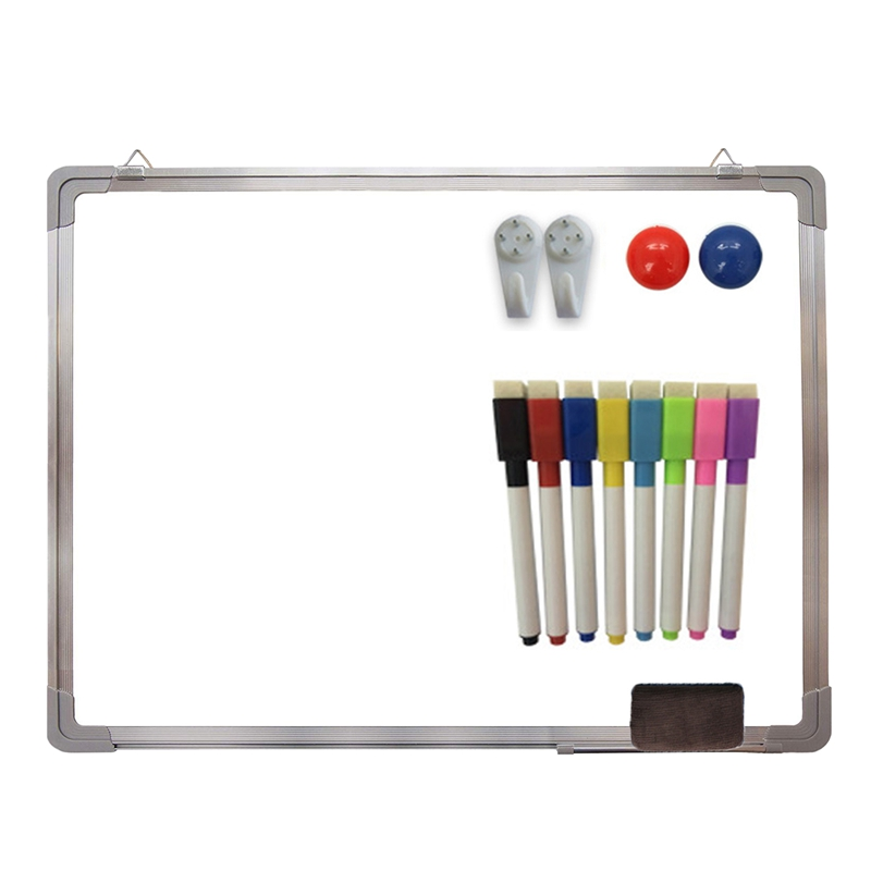 HOT-Magnetic Whiteboard Writing Board Double Side With Pen Erase Magnets Buttons For Office School 30x40cm