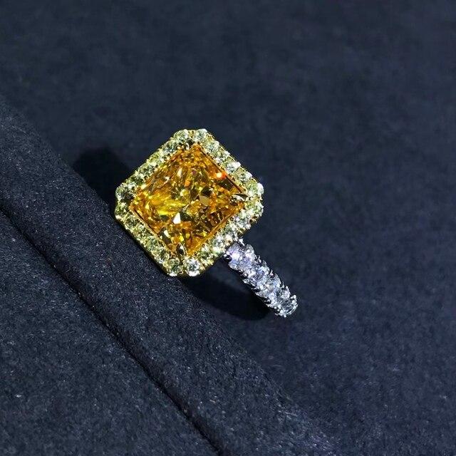 Wong Rain Luxury 925 Sterling Silver 2 CT Radiant Cut Created Moissanite Gemstone Diamonds Wedding Engagement Ring Fine Jewelry 5