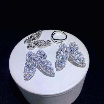 1 style is equal 2 styles ring and pendant double use 925 sterling silver with cubic zircon butterfly ring adjustable size