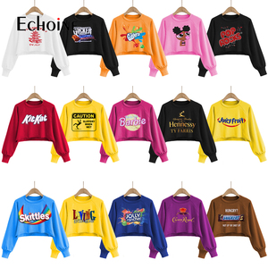 Echoine Women Short Hoodies Jumper Warm Sweatshirts Female Pink Cropped Top Fall winter Candy pattern Loose Pullover clothes
