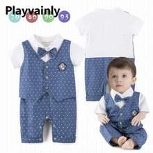 Wholesale Boy Romper 2021 New Baby white short sleeve shirts Polka Dot Fashion 3PCS Outfits Set Baby Clothes E13850
