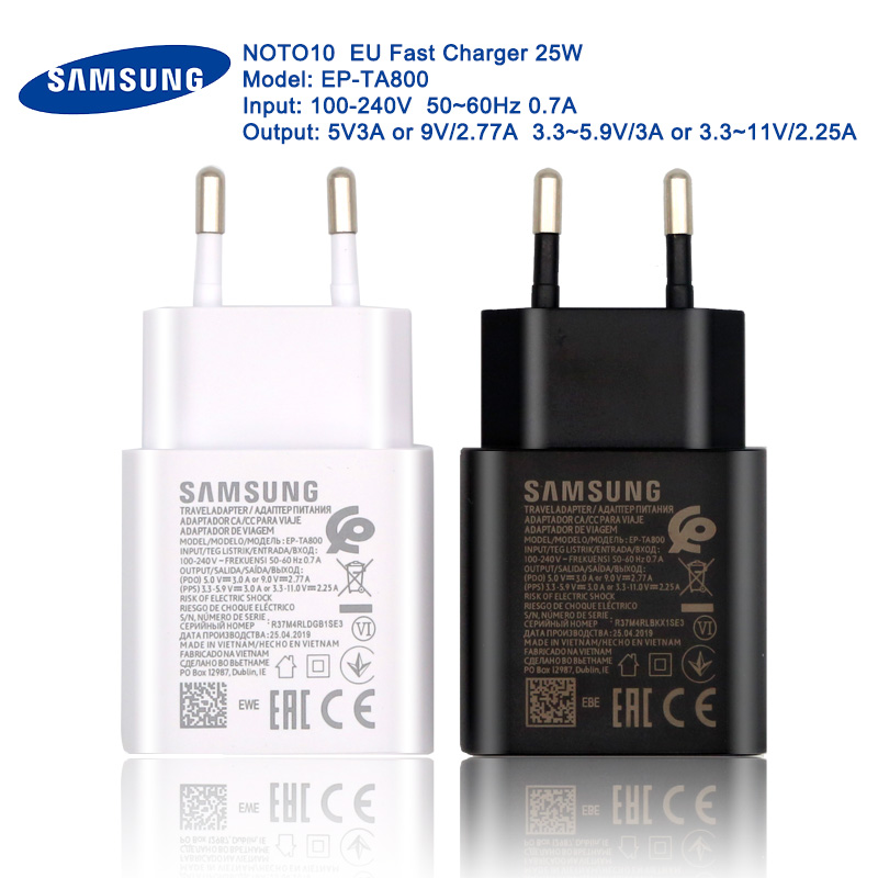 Original 25W Samsung Super fast charger noto10 EU quick charge USB adapter for galaxy note 7 8 9 10 plus s8 s9 s10 s21 s20 5g