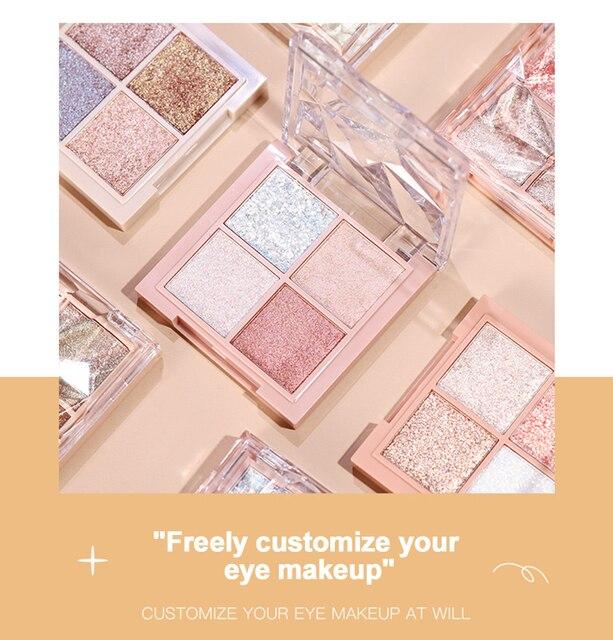 HOJO 4 Color Shimmer Eyeshadow Palette Comestic Glitter Pearlescent Long-lsting Waterproof Matte Eye Shadow Eye Makeup TSLM2 2