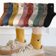 Embroidered socks ladies autumn and winter cotton socks wild funny expression cartoon female socks women socks flower embroidered socks curled wood ear cotton socks comfortable women s socks