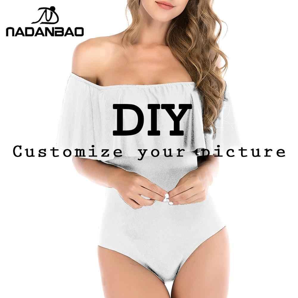 Nadanbao diy swimwears personalizar 3d impresso uma peça maiôs feminino sexy fatos de banho