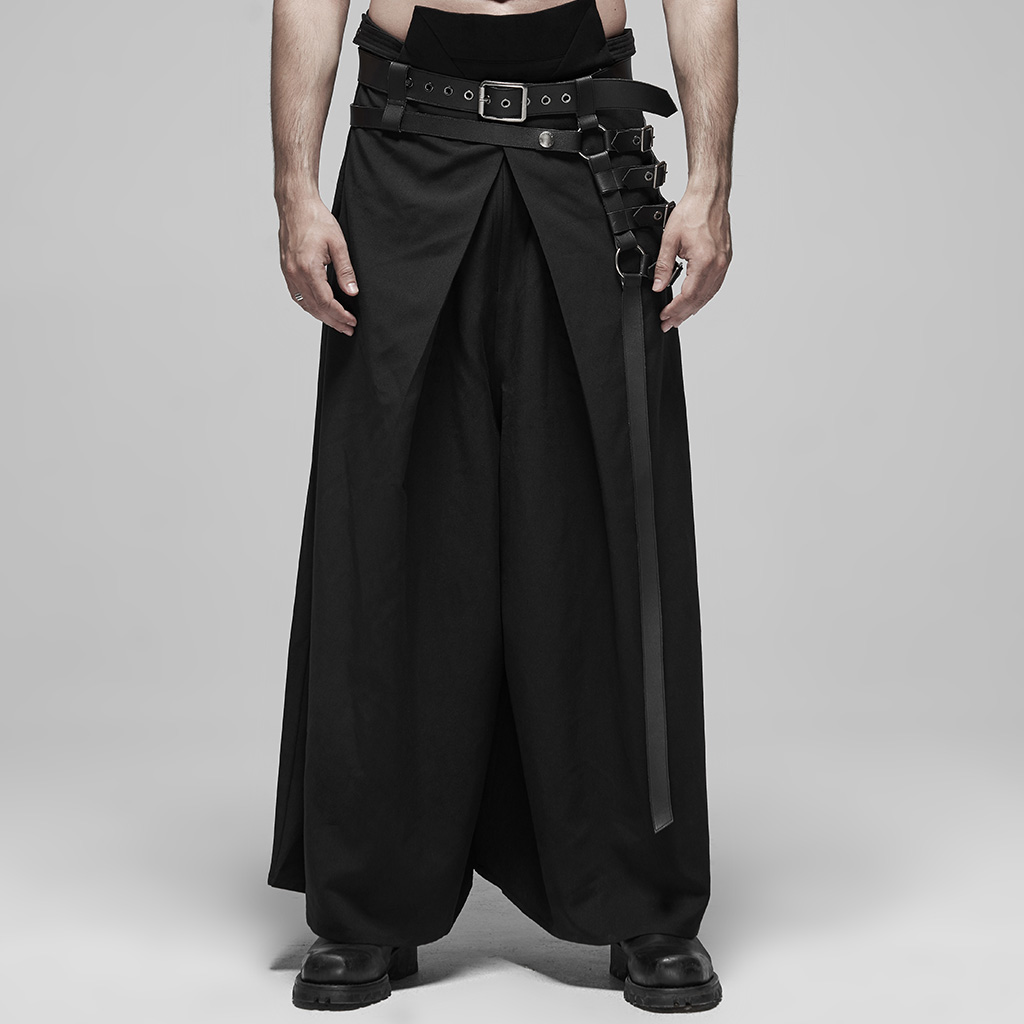 PUNK RAVE Men's Punk Black Japanese Warrior Pants Kimono Style Metal Adjusting Buckle Stage Performance Trousers