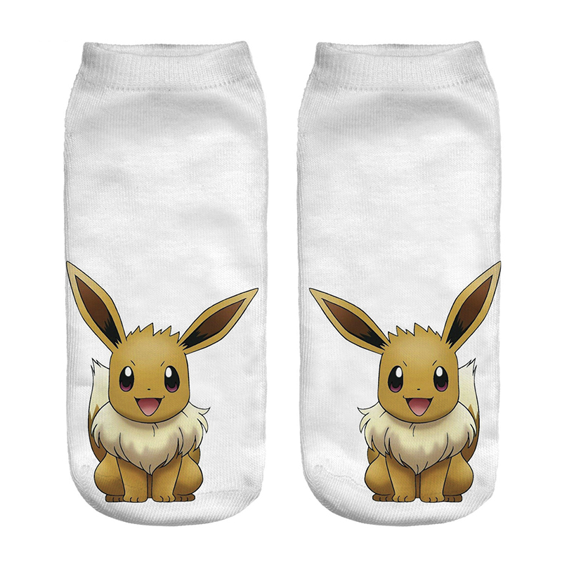 Kawaii Pokemon Eevee Girl Cotton Socks Funny Woman Cute Socks Japanese Cartoon Printed Boy Short Socks