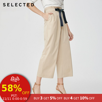 SELECTED new women\'s with micro-elastic high waist commuting business casual wide leg pants S|419114563 - DISCOUNT ITEM  55% OFF Women\'s Clothing
