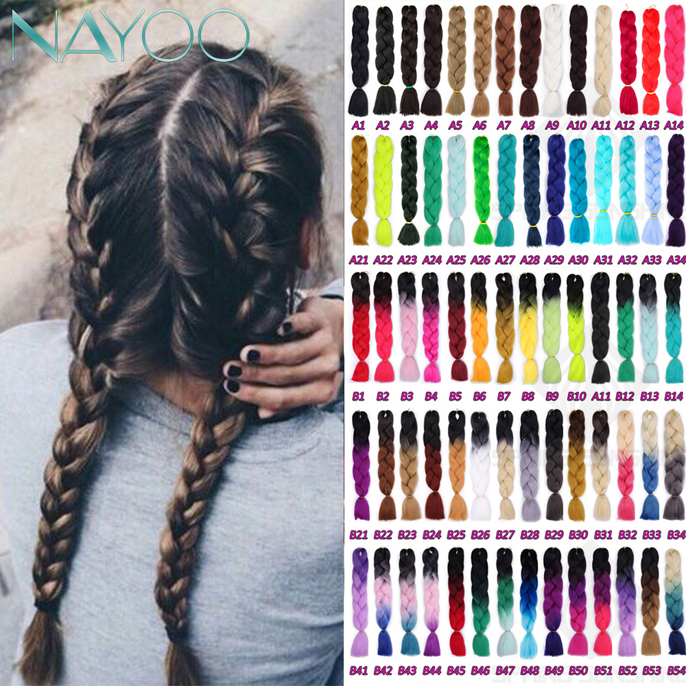 Nayoo Hair 24inch Long Synthetic Crochet Jumbo Braid Ombre Pink Purple Blue Blonde Kanekalon Braiding Hair Extension