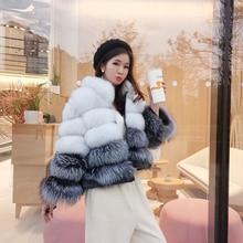 Cappotto in pelliccia da donna giacca invernale cappotto corto in vera pelle di volpe con cappuccio cappotto spesso in vera pelliccia di volpe naturale cappotto spesso 2020