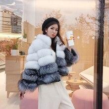 Kurtka zimowa futro damskie prawdziwy lis skóra trawa krótki płaszcz z kapturem naturalne prawdziwe futro z lisa stojak kołnierz gruba powłoka 2020