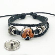 Лидер продаж милый щенок кошка круглый кожаный веревочный браслет
