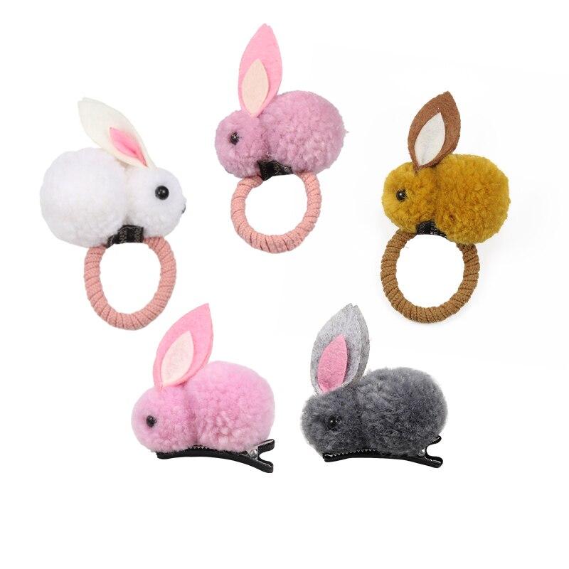 Korean Cute Rabbit Ball Hair Ring Clip Female Tie Tope Elastic Hair Bands Hairpins Headwear Children Hair Accessories Ornaments