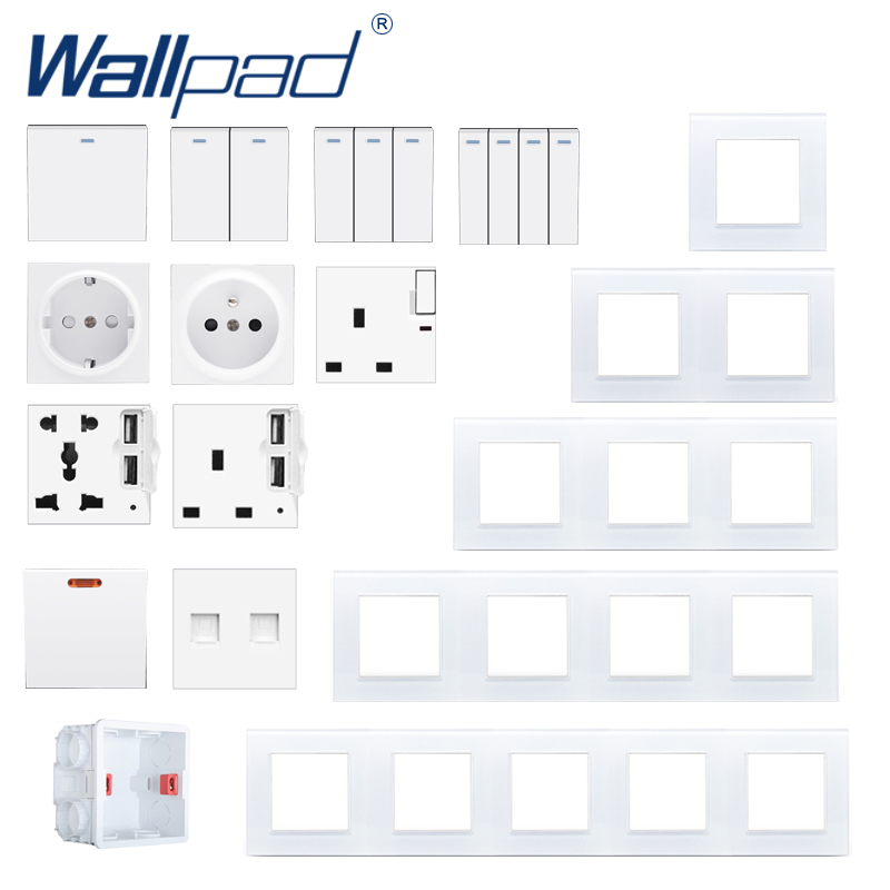 DIY Glass Frame Wall Light Button Switch Power Socket Electrical Outlet White Glass PC Function Key DIY Free S6 Series Wallpad