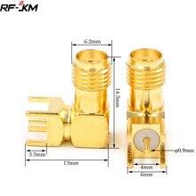 10PCS 90 GRAUS SMA-KWE fêmea SMA plug Ângulo Direito PCB Montar conector do adaptador RF