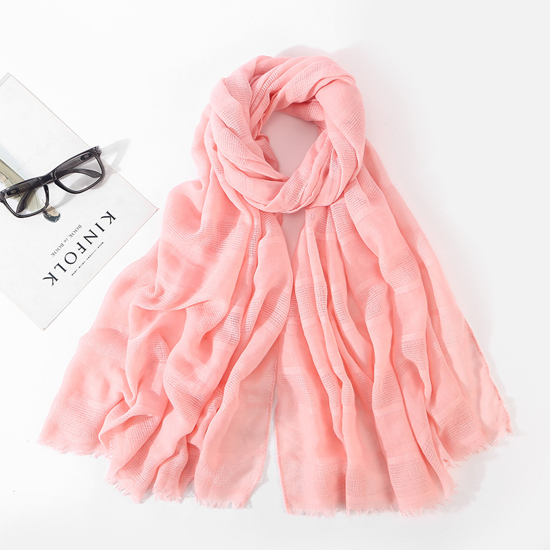 11 Colors Women Girl Cotton Scarf Linen Mix Crinkle Long Pure Color Scarf Wrap Shawl Stole Scarves & Wraps