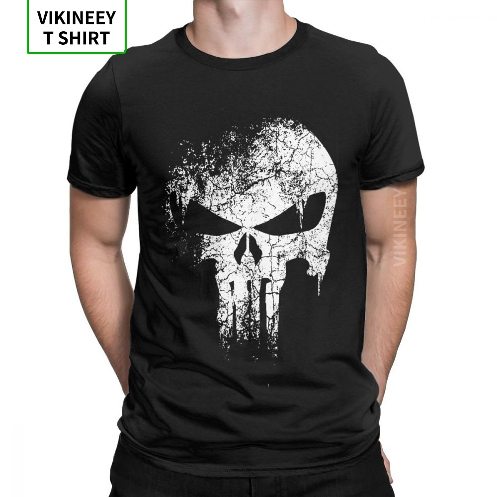 Punisher T-Shirts Men 100% Cotton T Shirt Supper Hero Fitness Streetwear Memento Mori Skull Short Sleeve Tee Shirt Plus Size