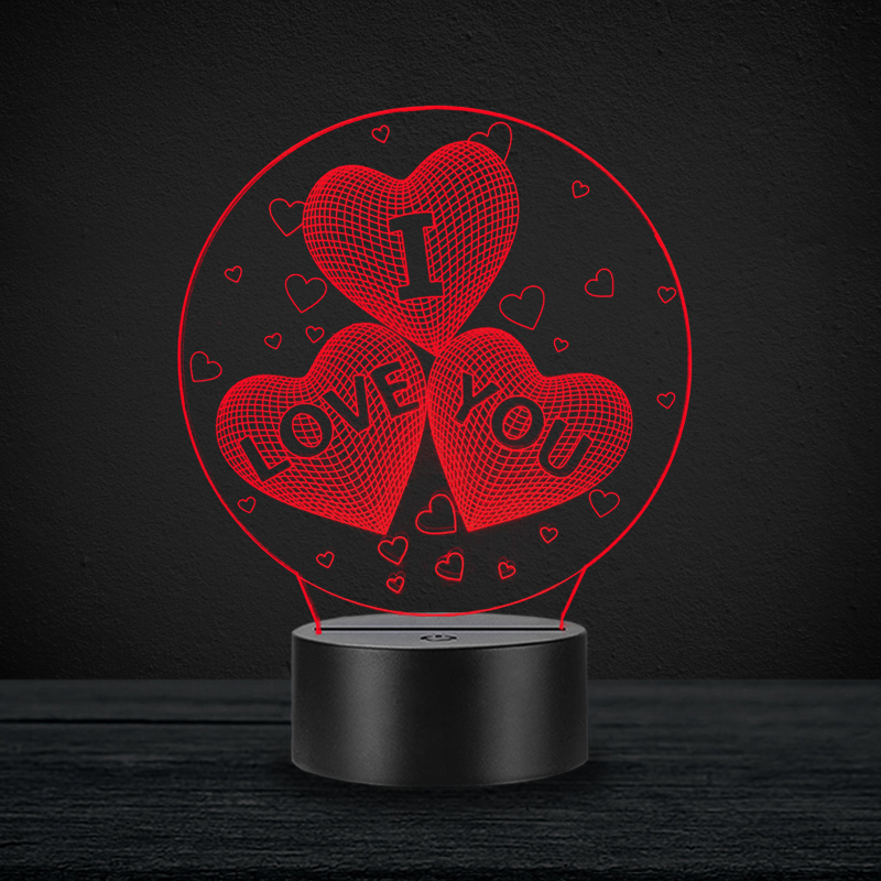 I Love You Heart Proposal Lover Valentine's Day 3D Lamp RGB LED USB Table Mood Night Light Warm White Switch Luminaria Change